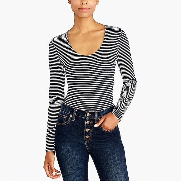 Navy /& White vertical stripe Long Sleeve Bodysuit